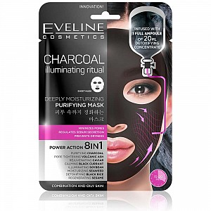 Eveline Charcoal Deeply Moisturizing Face Sheet Mask 20ml